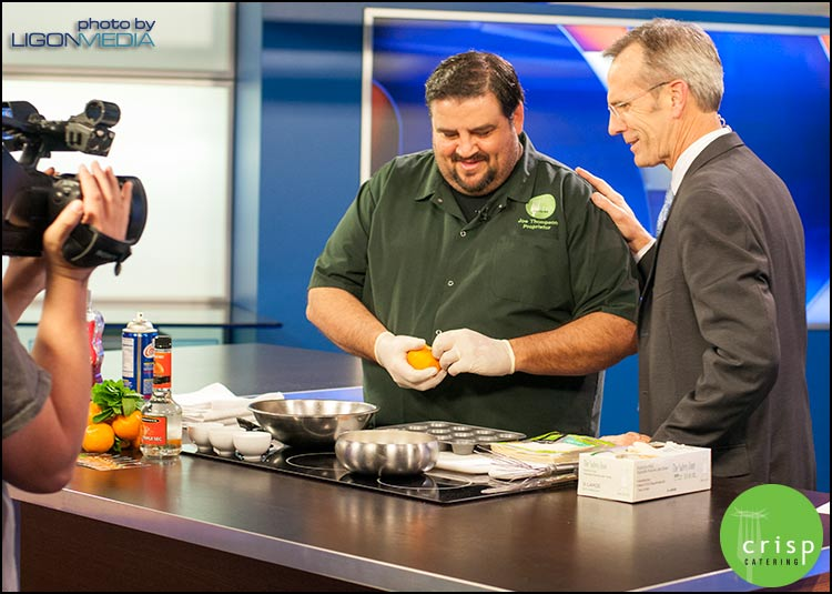 Joe Thompson, Crisp Catering, on Fox 40 making a Thanksgiving Dessert